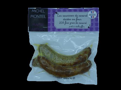 Saucisse de canard 20% foie gras dorée au four