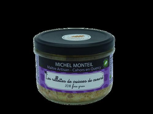Les rillettes de cuisse de canard 20% foie gras