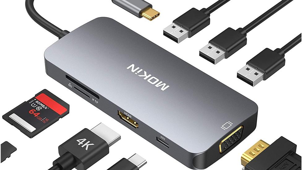 USB C Hub,USB C Adapter for MacBook,USB C to HDMI VGA SD TF Card Reader
