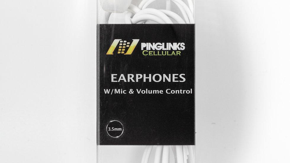 Pinglinks Earphones W/ Mic & Volume Control