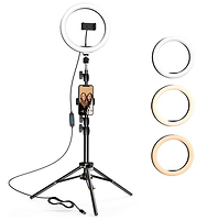 10.2 inch Selfie Ring Light with Tripod Stand & 2 Phone Holders, Dimmable LED
