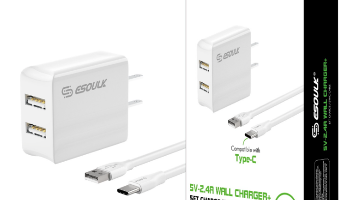 Esoulk 12W 2.4A Dual USB Travel Wall charger With 5FT Type-C Charging Cable