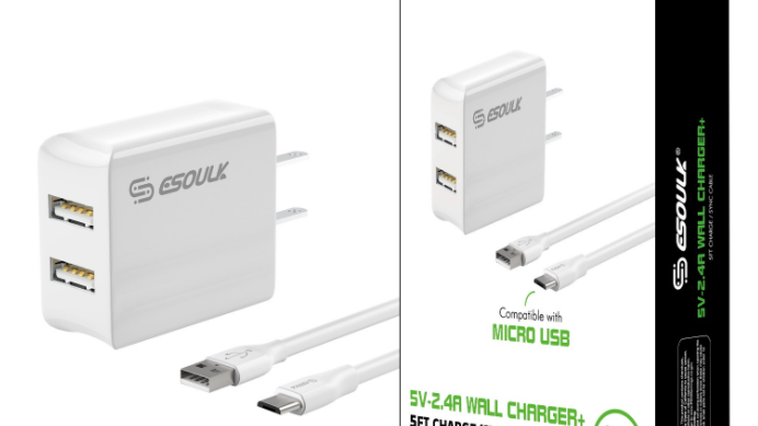 Esoulk 12W 2.4A Dual USB Travel Wall charger With 5FT Micro USB Charging Cable