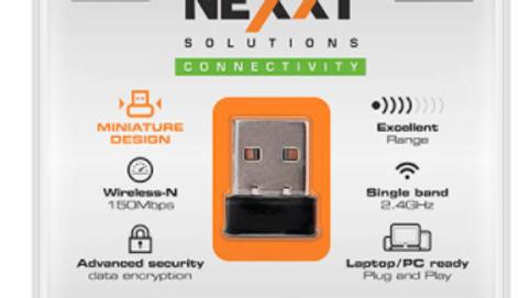 Nexxt Nano Lynx Wirelenss-N Mini USB 20 Wifi Adapter 150Mbps 2.4GHz AULUB155U2
