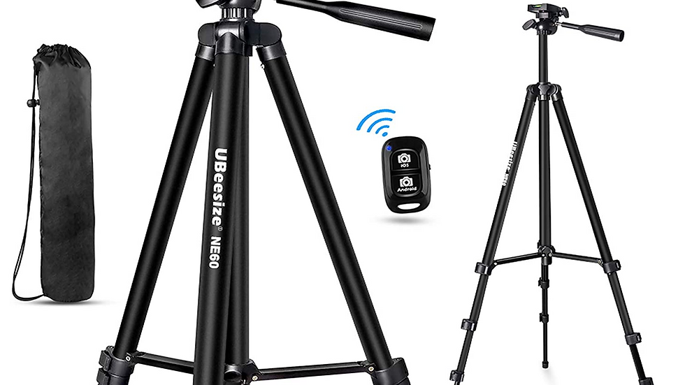 """UBeesize 60"""" Phone Tripod with Carry Bag & Cell Phone Mount Holder"""