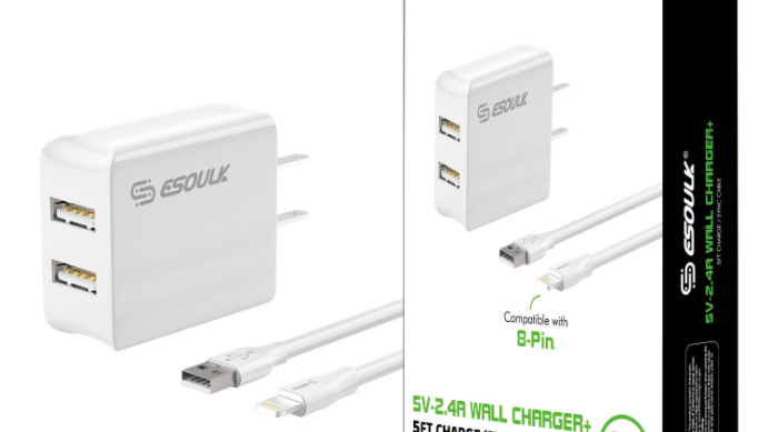 Esoulk 12W 2.4A Dual USB Travel Wall charger With 5FT Lightning Cable In White