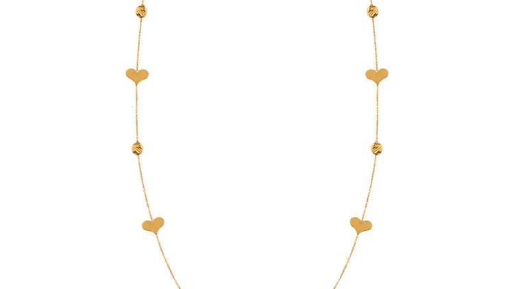 Long Station Necklace with Heart and gold ball