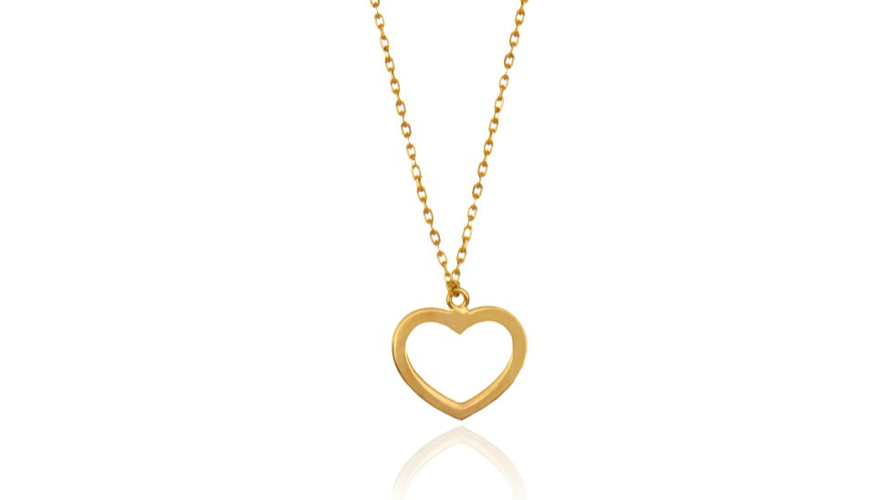 Yellow Gold Necklace with hallow heart