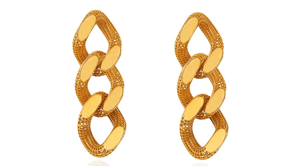 Yellow Gold Curb Link Earrings