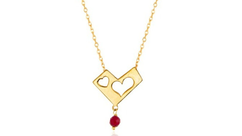 Yellow Gold Necklace with Two Hearts and Dangling Garnet