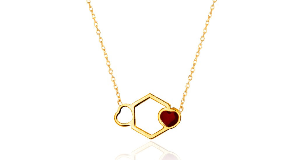 Yellow Gold Necklace with red Enamel Heart on design