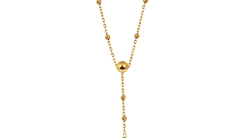 Yellow Gold station Necklace with hanging chain and a Clover