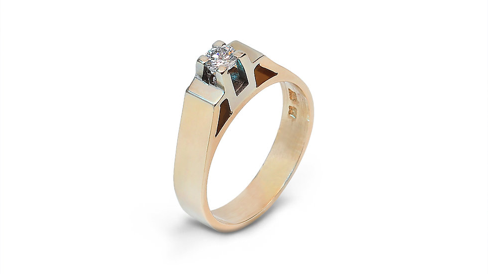 Yellow Gold Solitaire Diamond Ring.