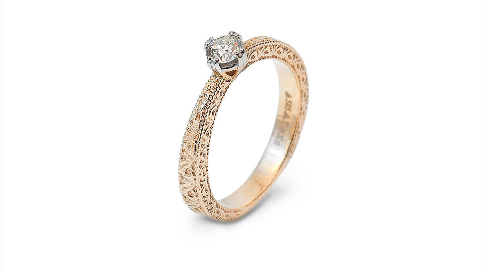 Yellow Solitaire Diamond Ring With Pattern on Shanks