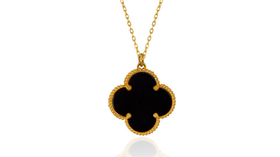 Yellow Gold Clover style Pendent with Black Onyx