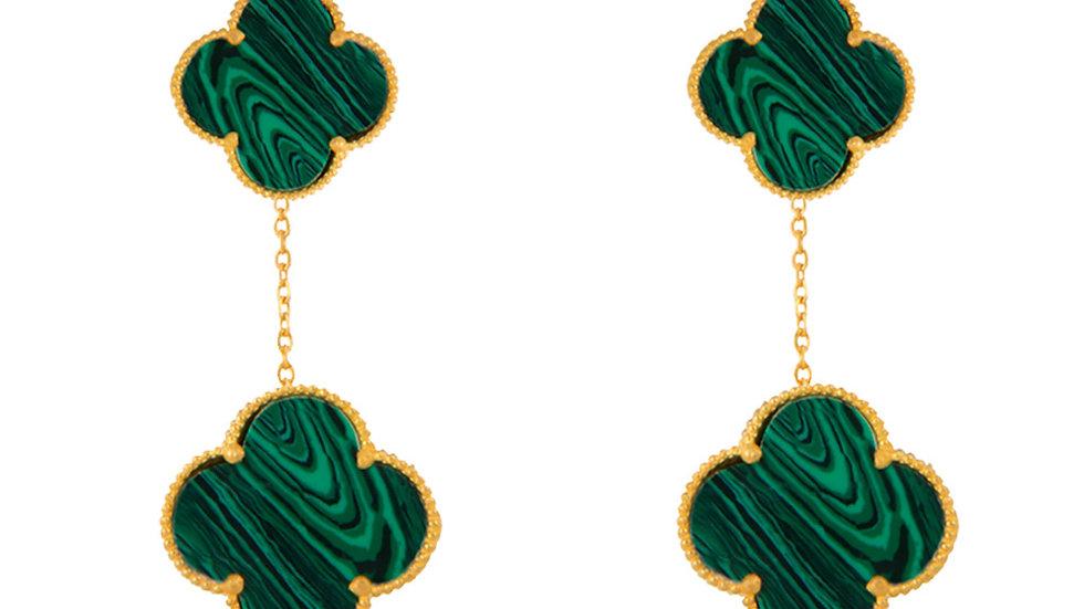 Yellow Gold Dangling earring with Malachite green