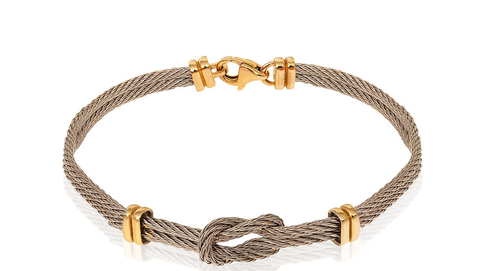 Two-tone Yellow and White Gold Rope Style Bracelet.