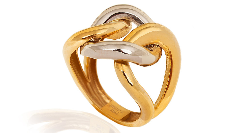 Two Tones Twisted Gold Ring