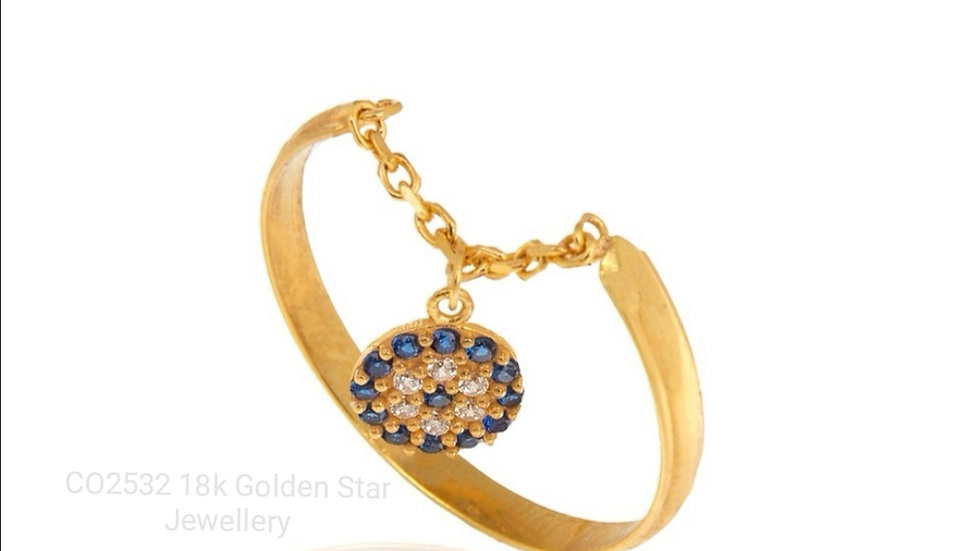 18k Yellow Gold Ring With Hanging Evil Eye