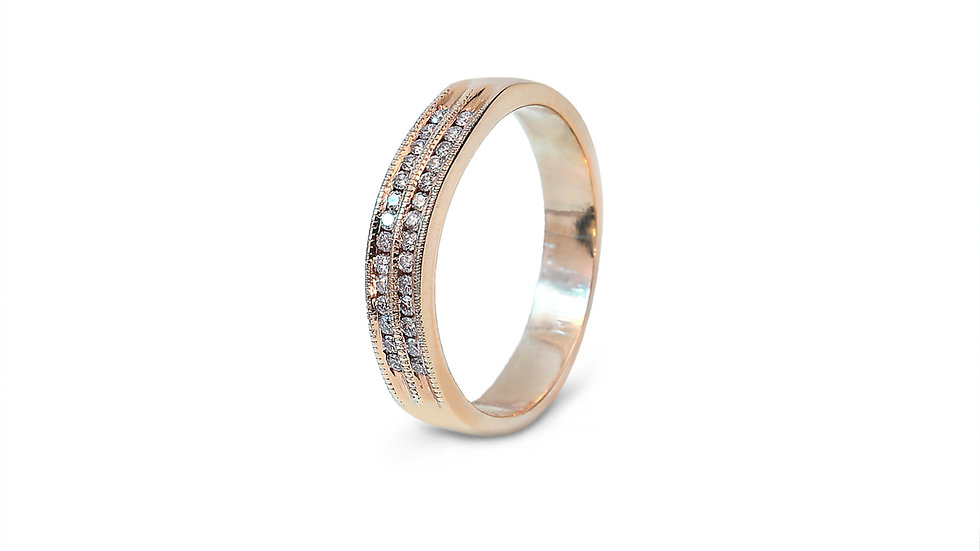 Two Rows Rose Gold with Pink Diamonds Band