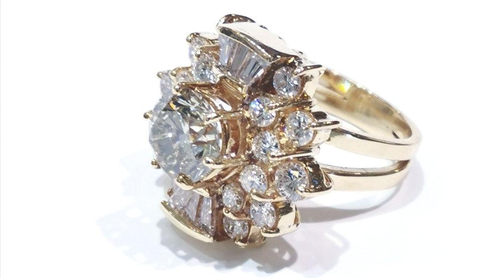 Vintage Massive 6.47ct Yellow Gold Diamond Ring