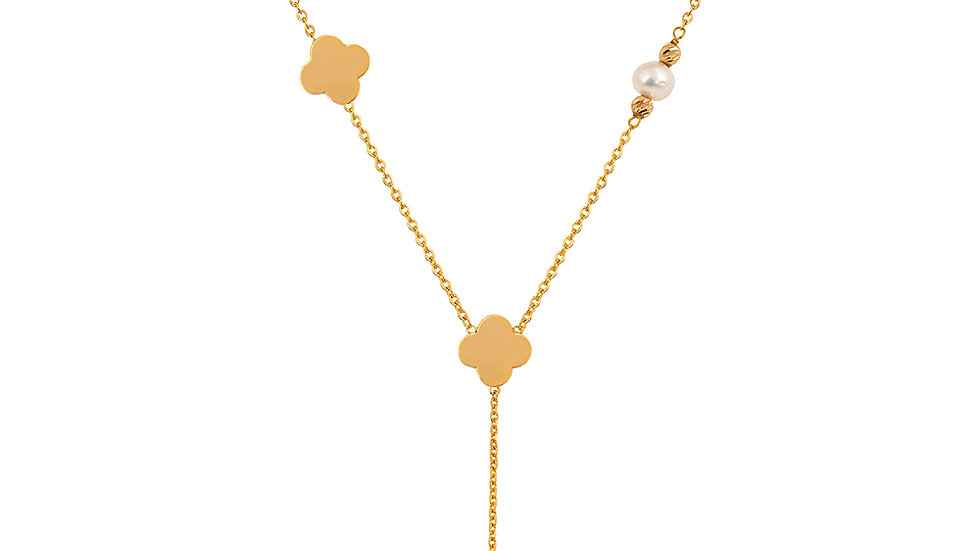 Yellow Gold Lariat Necklace with Clover and Pearl