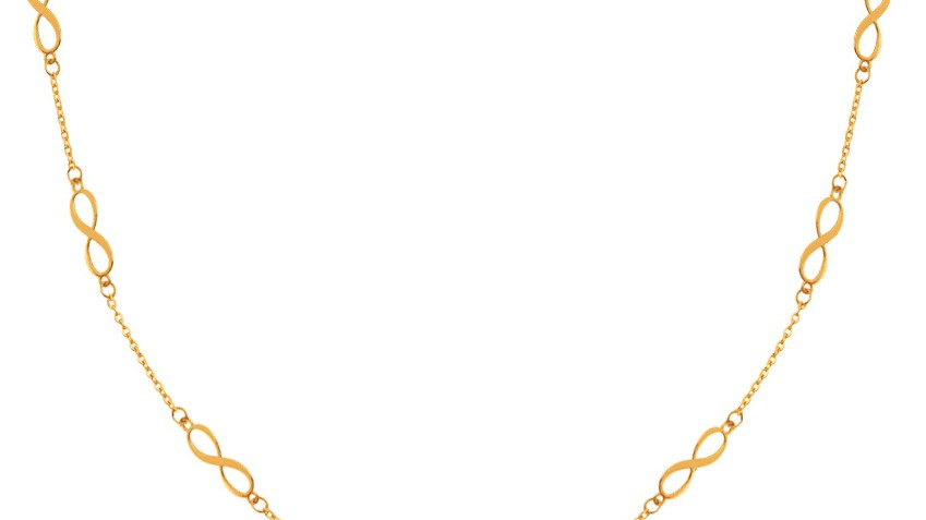 Yellow Gold Infinity Stations Necklace.