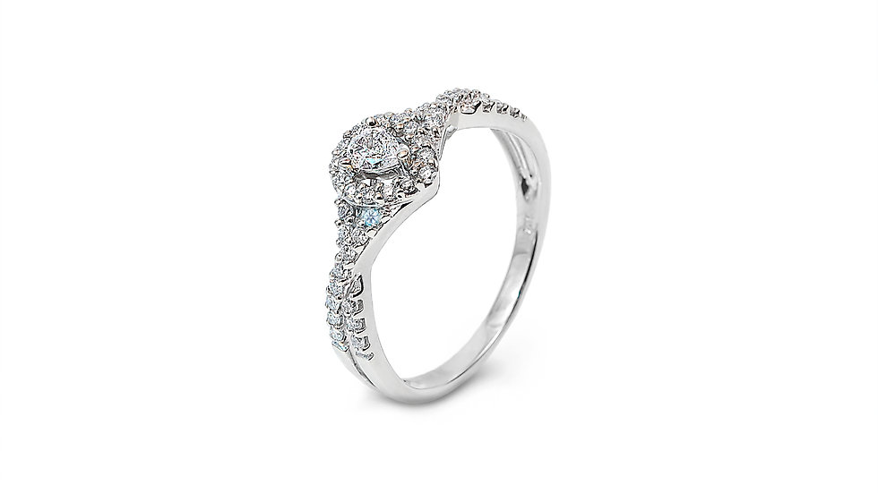White Gold Engagement Ring with Pear Shape Diamonds