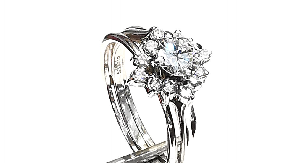 White Gold Engagement Diamond Ring Set.
