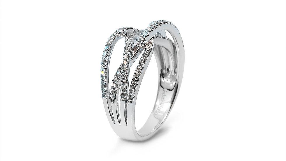 White Gold Dimond Cross Over Ring