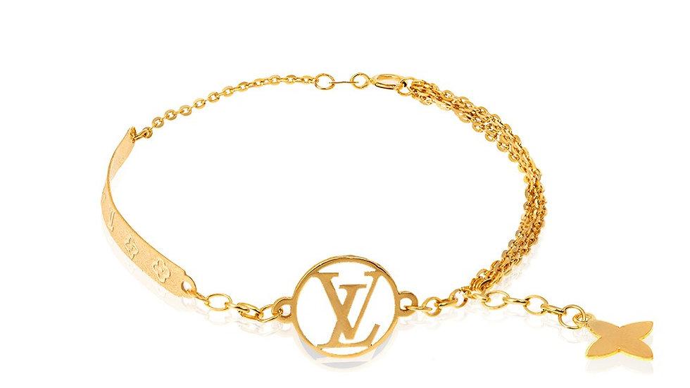 Yellow Gold Bracelet with white Enamel charm
