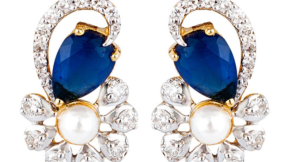 Sapphire, Diamond and Pearl Earrings.