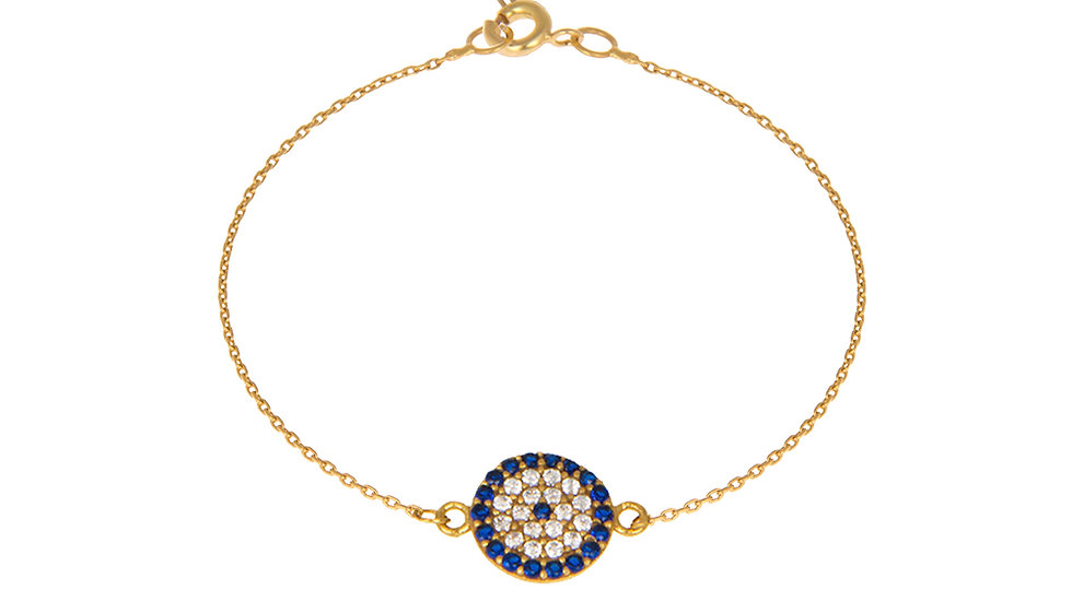 Yellow gold chain bracelet with Evil eye