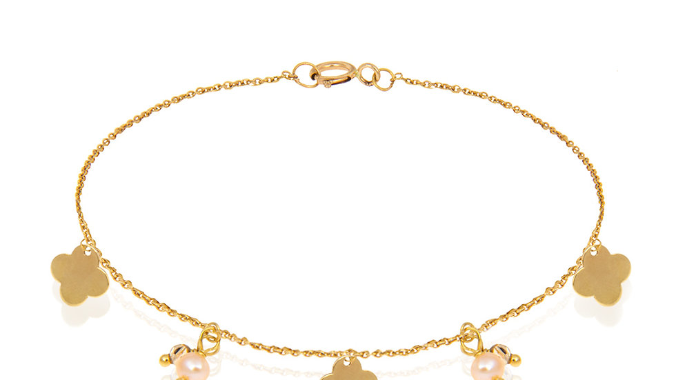 Yellow Gold Bracelet with 3 Clover Leaves and Two Pearls