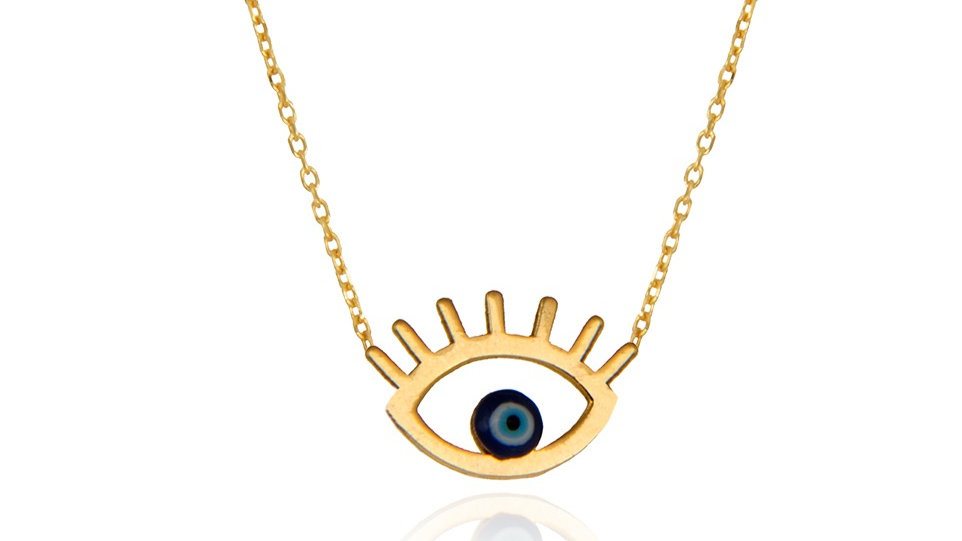 Yellow Gold Eye Necklace with blue Stone