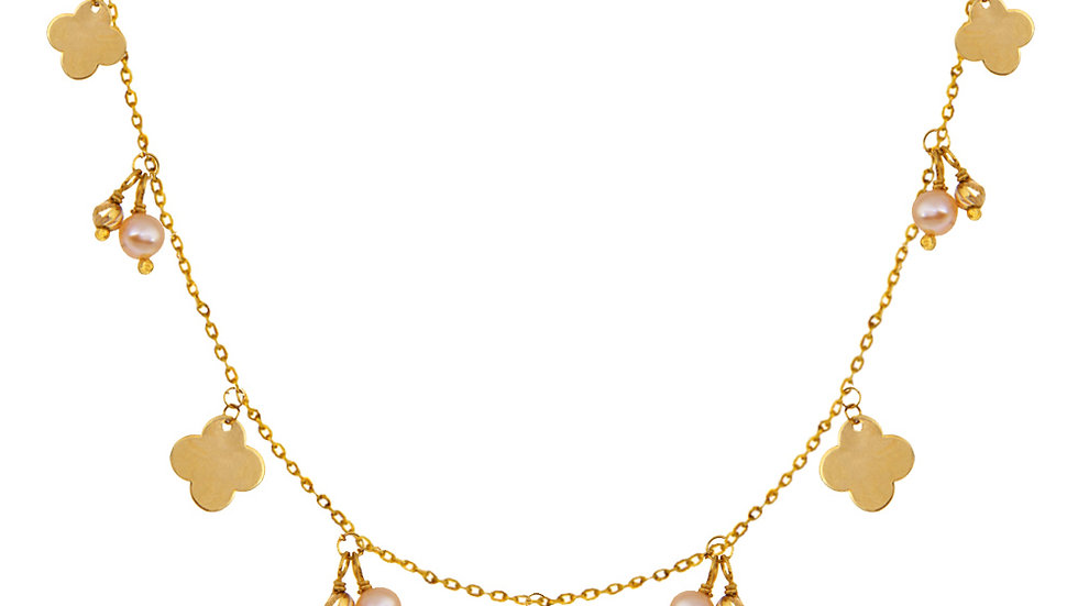 Yellow Gold Station Necklace with Clovers and pearls