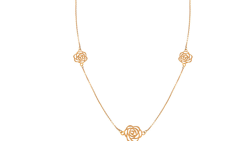 Yellow Gold Long Station Necklace