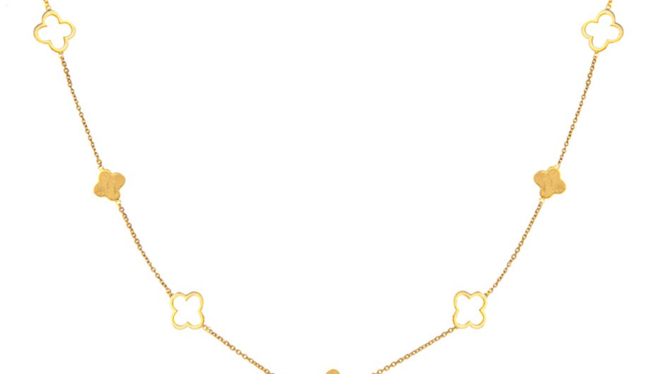 Yellow Gold Station Necklace with small Clovers