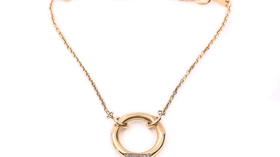 Yellow Gold Bracelet with a Circle- 10 Round Diamonds