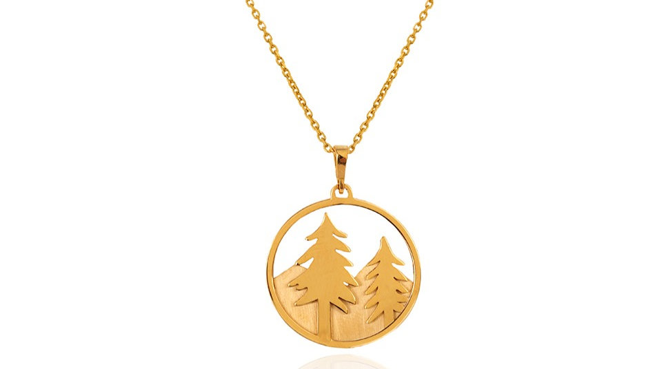 Yellow Gold Pendent with two Pine Tree