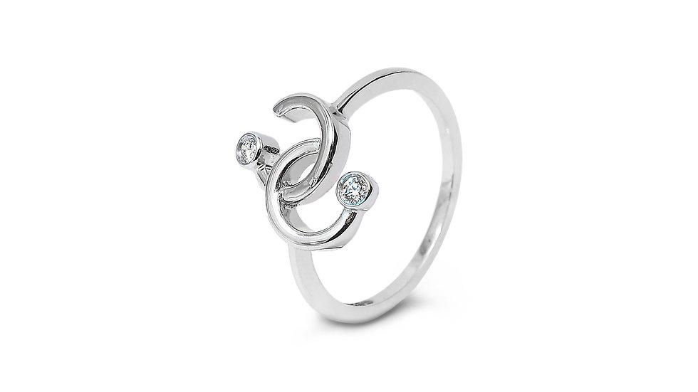 Half Circles Crossing Diamond Ring