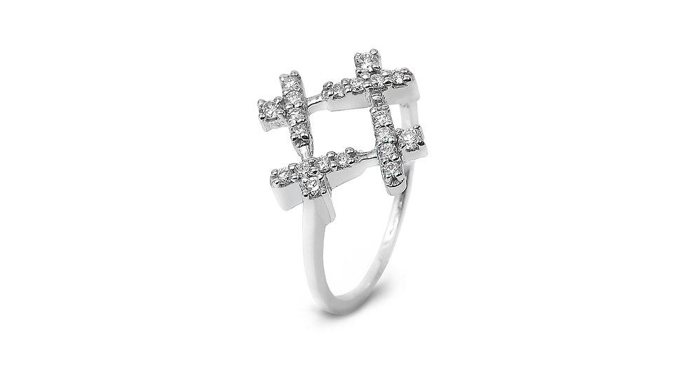 Messy Square Diamond Ring