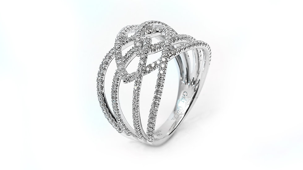 White Gold Intersecting Multi Row Pave' Diamond Ring