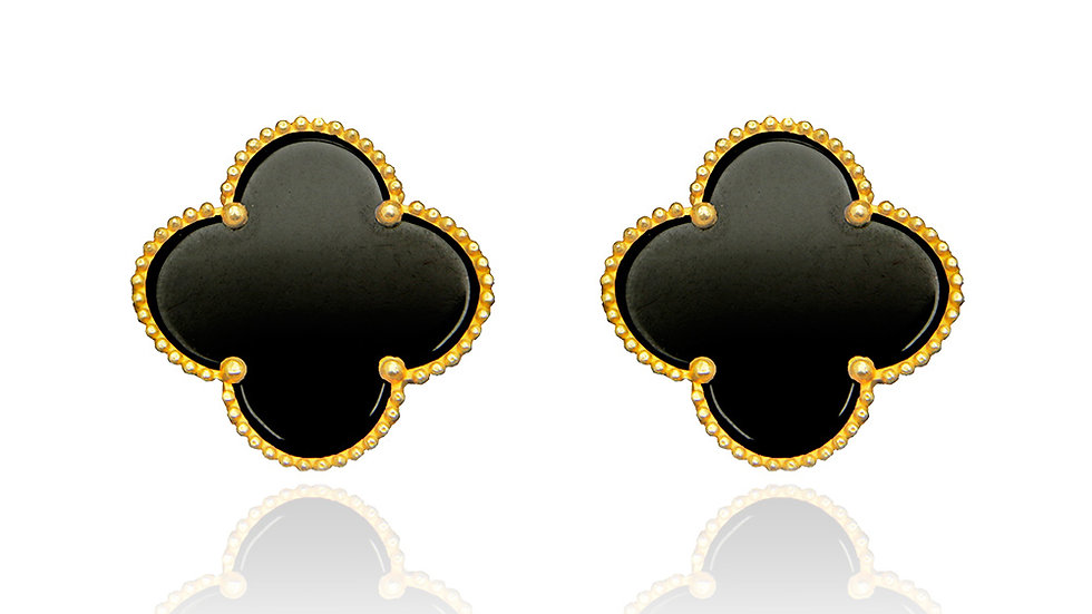 Yellow Gold Clover Earring with Onyx