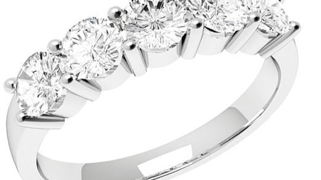 18k Certified Five Diamonds Ring with Five GIA Certificates.