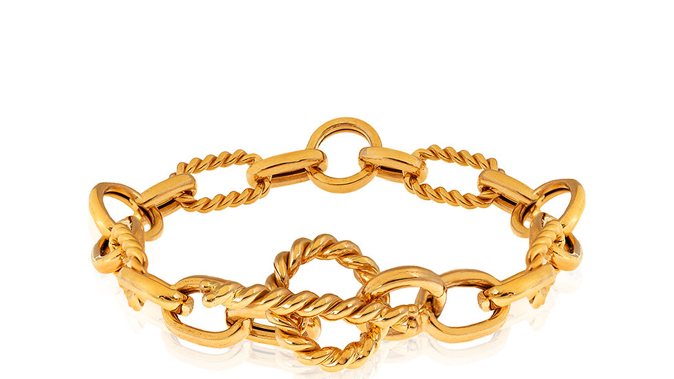 Yellow Gold Oval and Round links Bracelet