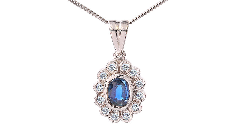 White Gold Sapphire and Diamond Pendent