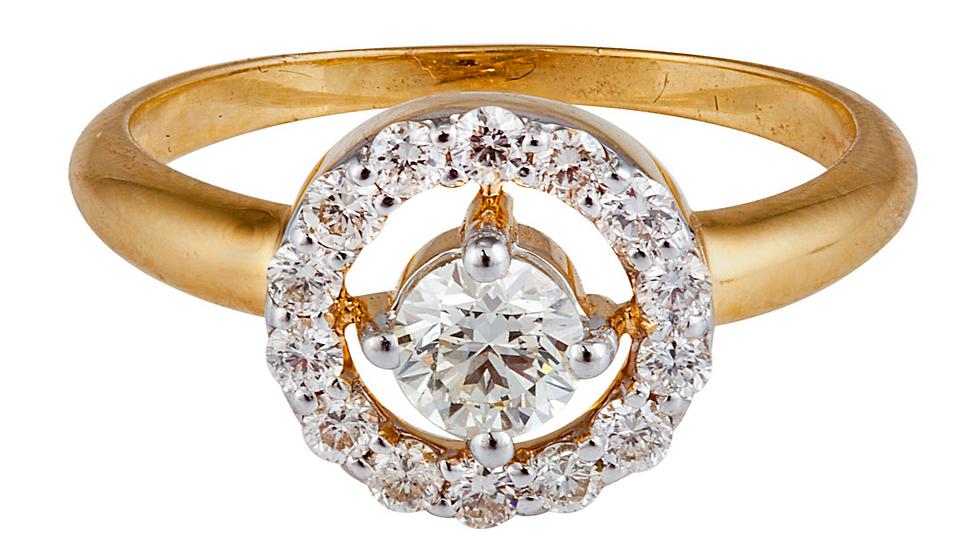 Yellow Gold Halo Diamond Ring.