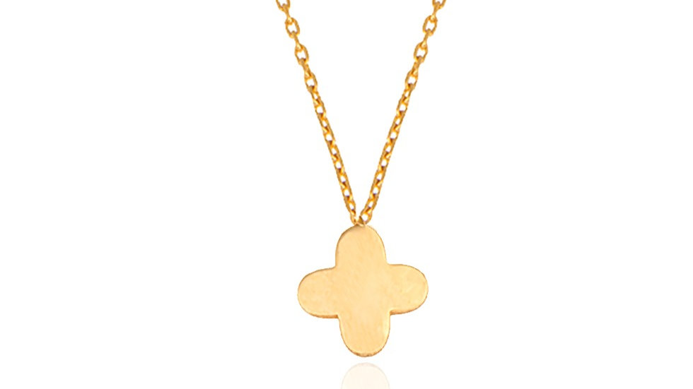 Yellow Gold Necklace with a solid clover charm