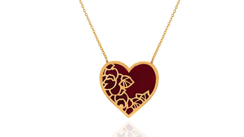 Yellow Gold Necklace with red Enamel Heart